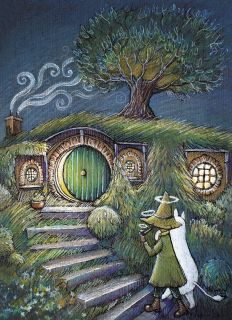 Почтовая открытка Муми-тролль и Снусмумрик в Хоббитшире