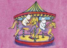 Почтовая открытка Муми-тролли на карусели